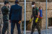 Exército desinfectação de rua